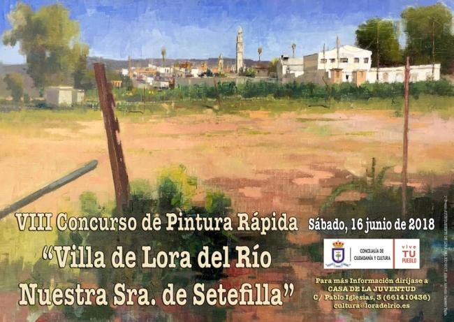 Cartel anunciador VIII Concurso Pintura Rápida Villa de Lora del Río