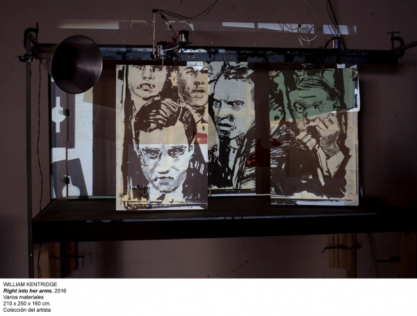 William Kentridge, Right into her arms, 2016. Varios materiales, 210x250x160. Colección del artista | Ir al evento: 'William Kentridge. Basta y sobra'. Exposición de Video arte en Museo Nacional Centro de Arte Reina Sofía (MNCARS) / Madrid, España