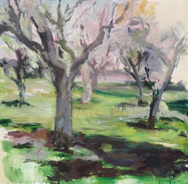 Almendros - 100x100 cms | Ir al evento: 'Constanza L. Schlichting - Natura'. Exposición de Pintura en Montsequi / Madrid, España