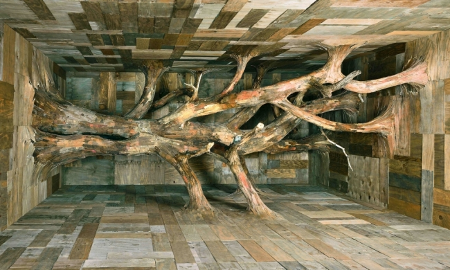 Henrique Oliveira Devir, 2017 Plywood, tree branches and bark