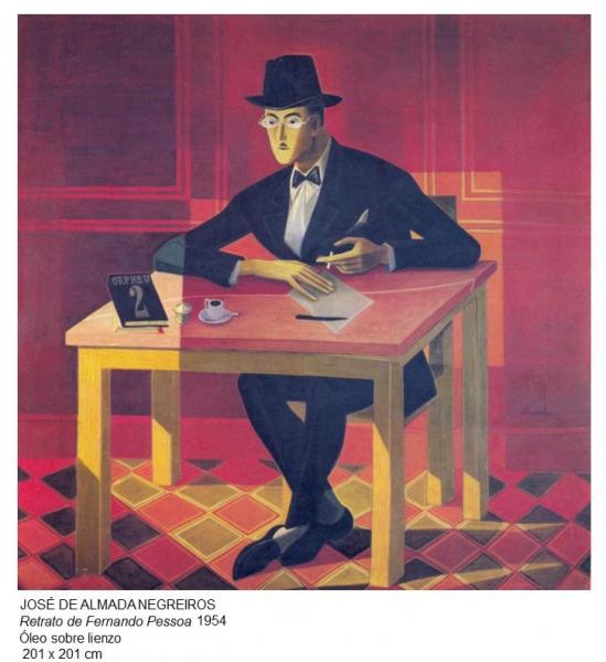 José de Almada Negreiros, Retrato de Fernando Pessoa, 1954. Óleo sobre lienzo, 210x201 cm.