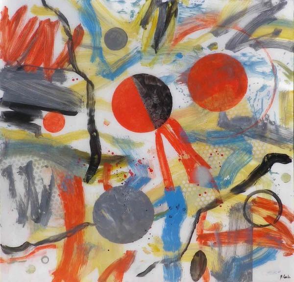 Rafael Cerdá, Círculo rojo y negro. Mixta sobre metacrilato. 100x100 cm.