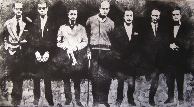 Alvaro Sellés, EL PASO, díptico, serie Los Pintores 2012. Técnica mixta sobre lienzo.150x300 cm.