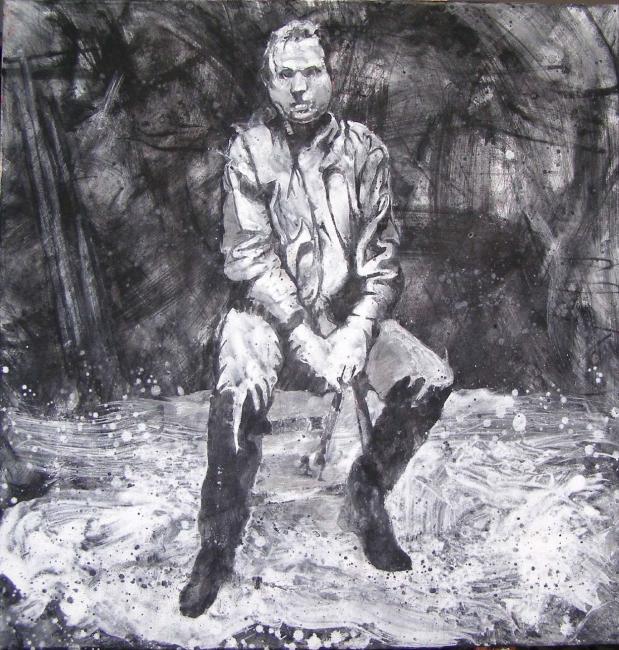 Alvaro Sellés, BACON. 2012. Técnica mixta sobre lienzo. 69x69cm.