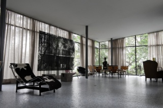 Interior of Glass House (Casa de Vidro) by Lina Bo Bardi, with Veronika Kellndorfer, transparent silkscreen print on glass, installation view, 2014, courtesy of Christopher Grimes Gallery