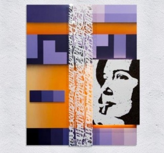 Edis One, Remember. Metal, acrylic glass, cork, tile, spray, marker, 120x94x3 cm., 2017 – Cortesía de la galería Arte Periférica