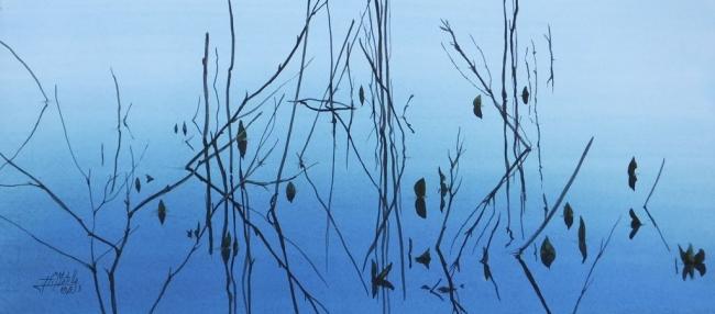 Reflejos en azul (1) Acuarela/papel l15 x 32 cm. 2013