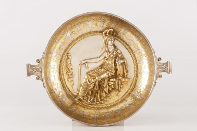 Pátera de Minerva, Christofle y cía., 1881. Galvanoplastia  – Cortesía del Museo Nacional de Escultura