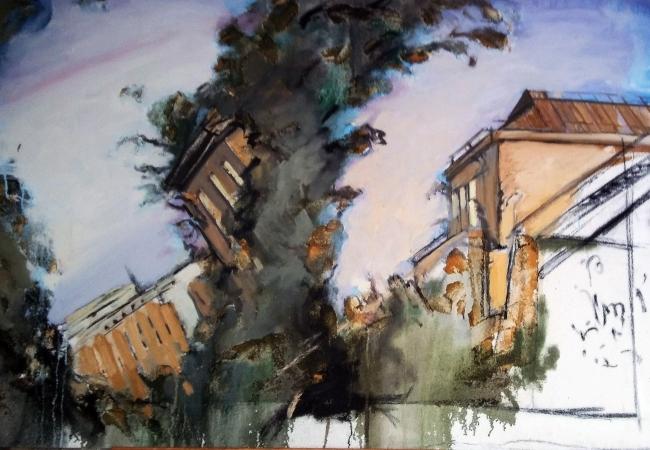 Francis Daubresse. Sin título. Técnica mixta sobre tela, 130 x 90 cm. – Cortesía de la Galería Ra del Rey