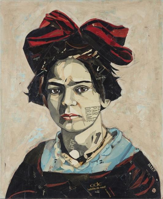 Pedro García Villegas, Las alas de paja, 110x90 cm., Mixta i collage sobre fusta — Cortesía de la Galería Jordi Barnadas