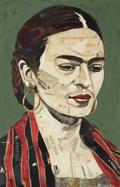 Pedro García Villegas, Le pardon, 140x90 cm., Mixta i collage sobre fusta — Cortesía de la Galería Jordi Barnadas
