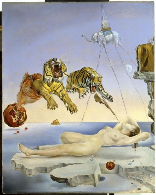 Salvador Dalí. Un segundo antes del despertar de un sueño provocado por el vuelo de una abeja alrededor de una granada, c. 1944. Museo Nacional Thyssen-Bornemisza, Madrid. © Salvador Dalí, Fundació Gala-Salvador Dalí, VEGAP, Barcelona, 2018 —Cortesía MNAC