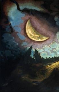 José Cuneo, Luna con dormilones, c.1944. Óleo - Madera, 146 x 97 cm.