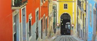 Magí Puig, Bàsics, óleo sobre tela, 61×151 cm. – Cortesía de la Sala Parés