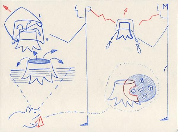 Desenhos mnemónicos: Makunaíma disse `deixa sair um bocadinho mais de peixe para o rio depois vamos cobrir o toco´ ==> História da enchente, 2016, color pencils on paper, 19x25 cm