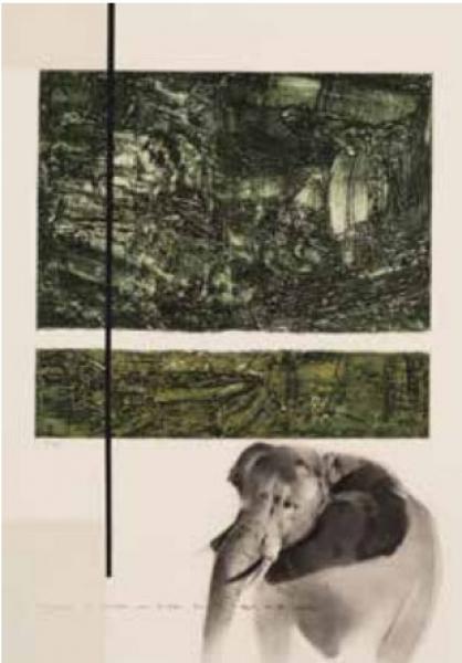 PEDRO RAIDEL Y de repente un viaje, 2015. Técnica mixta sobre papel, 75,5 x 52,5 cm
