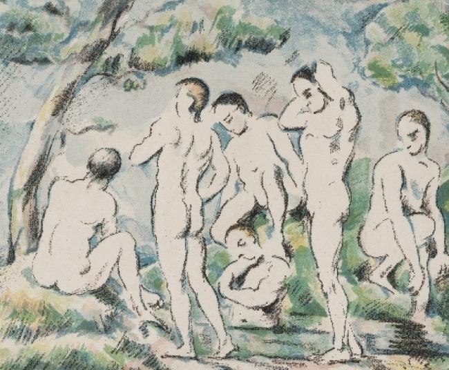 Paul Cézanne (1839-1906). Les petits baigneurs (Pequeños bañistas) (1897). Litografía. 21,9x26,8cm.