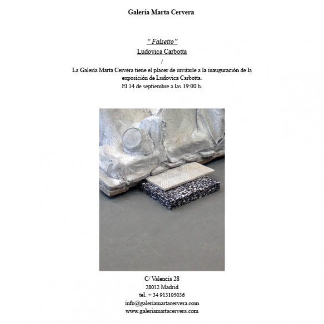 Invitación | Ir al evento: 'Ludovica Carbotta'. Exposición en Galería Marta Cervera / Madrid, España