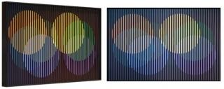 MOVEMENT. Multiple perspectives of Carlos Cruz-Diez, Chromointerference Spatiale Décembre, Chromography on aluminium, 40 x 60 cm, Ed. /8, Paris 1964/2017. Courtesy the artist and Puerta Roja.
