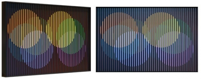 MOVEMENT. Multiple perspectives of Carlos Cruz-Diez, Chromointerference Spatiale Décembre, Chromography on aluminium, 40 x 60 cm, Ed. /8, Paris 1964/2017. Courtesy the artist and Puerta Roja.