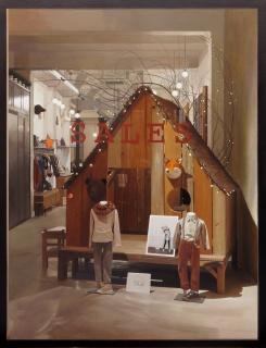 Marcos Cárdenas, La cabaña, oli sobre fusta, 116 × 89 cm – Cortesía de la Sala Parés
