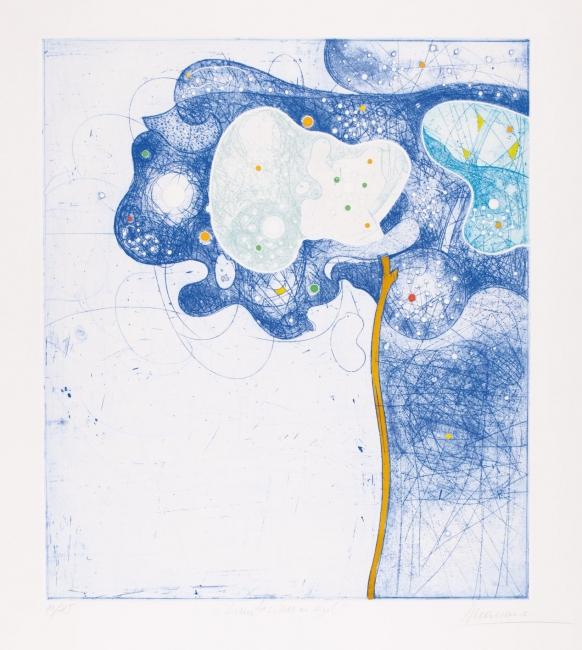 Limitaciones en azul, 1987. Aguafuerte, aguatinta e iluminado a mano - Cortesía de la Galería Taller Gravura