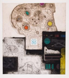 Pedro Maruna. Limitaciones 10, IV,  1986. Aguafuerte, aguatinta y carborundum – Cortesía de la Galería Taller Gravura