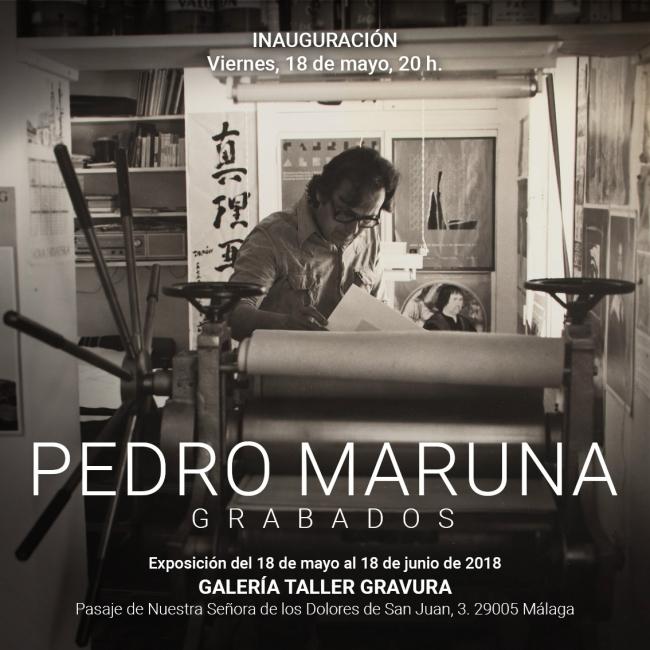 Tarjeta invitación | Ir al evento: 'Pedro Maruna. Grabados'. Exposición de Artes gráficas en Galería Taller Gravura / Málaga, España