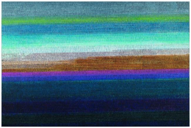 Soledad Sevilla, De seda azul medianoche, 2017, óleo sobre tela, 200x300 — Cortesía de la Galería Marlborough