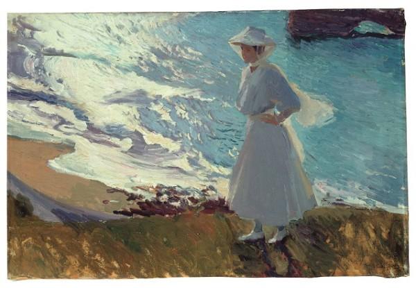 Joaquín Sorolla, María en la Playa de Biarritz, 1906. Museo Sorolla Óleo/lienzo, 63 x 92 cm