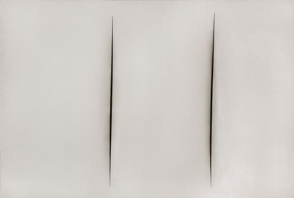 Lucio Fontana. Concetto spaziale, Attese, 1960, pintura al agua sobre tela, 93 x 137 cm. Ministerio de Relaciones Exteriores y Culto