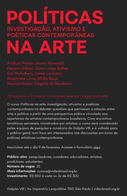 POLÍTICAS NA ARTE: INVESTIGAÇÃO, ATIVISMO E POÉTICAS CONTEMPORÂNEAS. Imagen cortesía Videobrasil