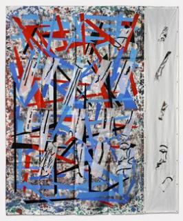 Eugenio Dittborn. Mirar a, Airmail Painting No. 192  2017. Imagen cortesía Alexander and Bonin