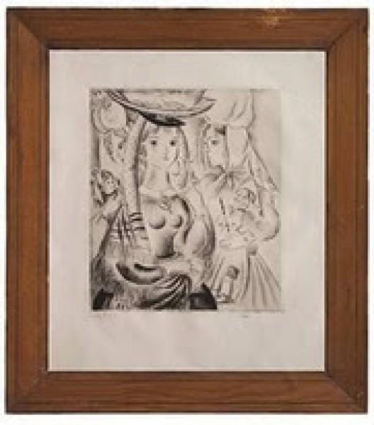 Mily Possoz, S/título. Assinado Ponta seca. 55,5 x 42,5 cm
