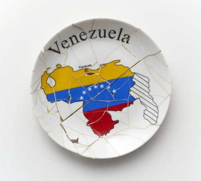 Ara Koshiro, Bandera, 2011. Stamped porcelain plate and epoxy.