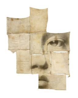 SENSE TÍTOL, 2015. T.M. SOBRE COL·LAGE DE DRAPS DE CUINA, 175 X 150 CM. Cortesía de Quiosc