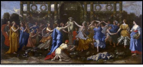 Nicolas Poussin (1594-1665), Hymeneus travestido assistindo a uma dança em honra a Príapo, circa 1634-1638 óleo sobre tela, 167 x 376 cm