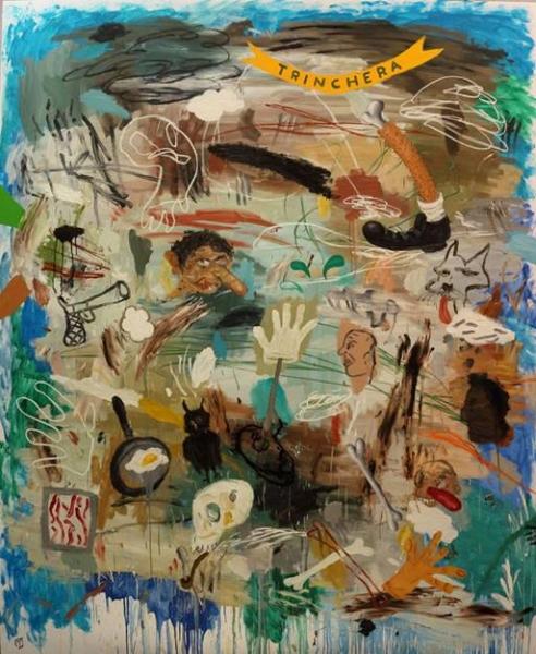 Matías Sánchez. Trinchera. 2016. Óleo sobre lienzo. 250x200 cm.