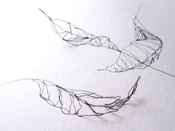 Hojas. Detalle. 2015. Dibujo a tinta, alambre y sombra. 35 x 42 cm