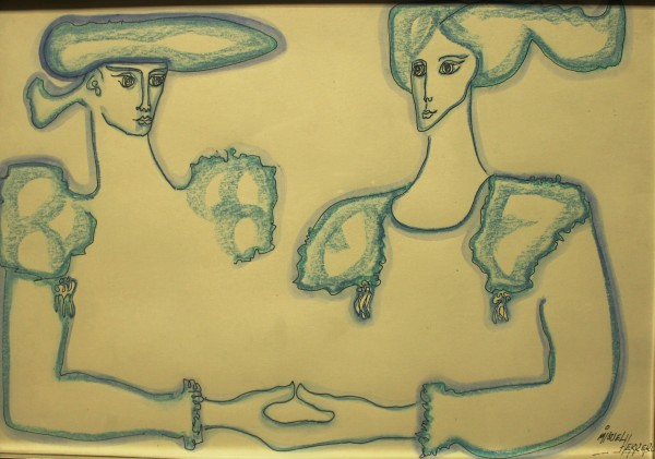Miguel Herrero, Alegoría Hispánica, 1983. 30,5x44,5 cm. Técnica mixta sobre papel