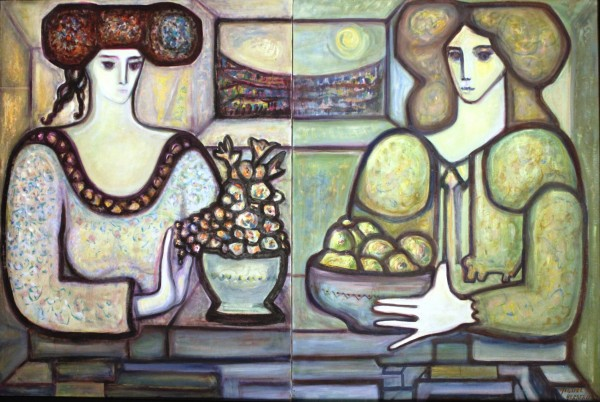 Miguel Herrero, Géminis, 1987. 130x190 cm., óleo sobre lienzo