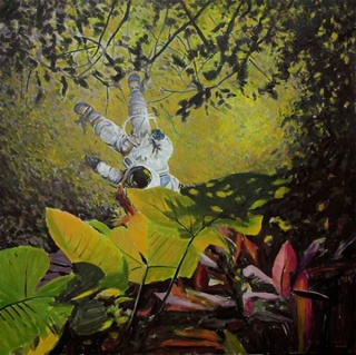 Astronauta en el bosque, 2016. Óleo sobre lienzo. 130 x 130 cm.