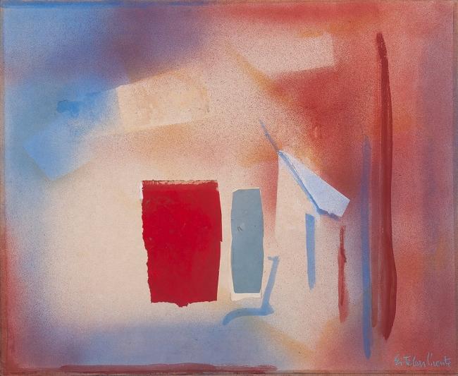 Sin título, 1988, Esteban Vicente. Técnica mixta y collage sobre tela. 71 x 86,5 cm – Cortesía de la Galeria Guillermo de Osma