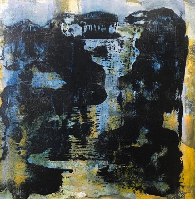 Delia Piccirilli. Panorama desde el puente #7, 40x40 cm., mixta sobre tela — Cortesía de la artista