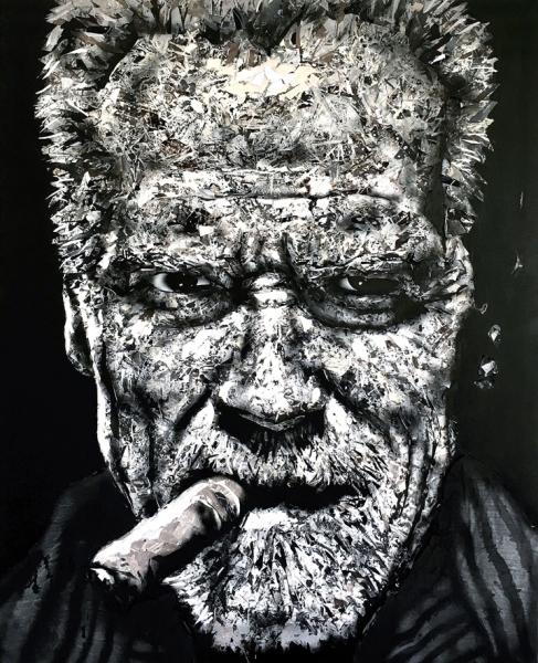 Arnold, 2017. Tiras de papel pintado, encolado sobre lienzo. 162 x 130 cm.