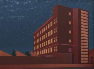 ARQUITECTURA PINTADAS. Turno de noche. Night Shift. 2010. O?leo _ lino. 73 x 99,5 cm. Imagen cortesía Juan Cuéllar