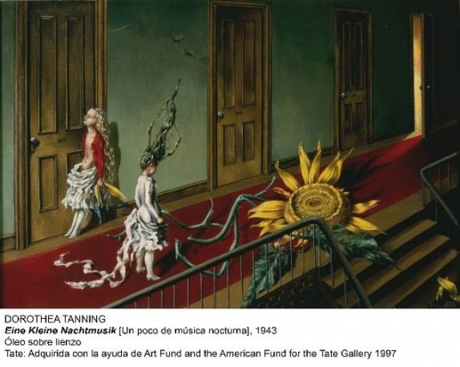 Dorothea Tanning, Eine Kleine Nachtmusik, 1943. Óleo sobre lienzo. Tate: adquirida con la ayuda de Art Fund and the American Fund for the Tate Gallery, 1997 — Cortesía del MNCARS