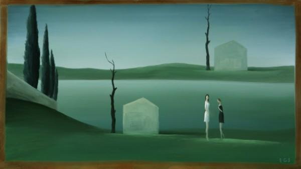 Emilio Gónzalez Sáinz, Damas blanca y negra, 2015. Óleo sobre latón 19,5 X 34 cm.