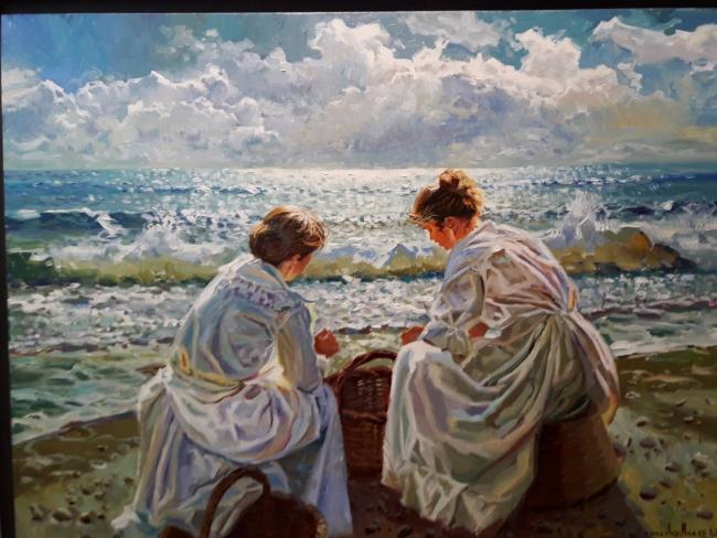 Conversando en la orilla