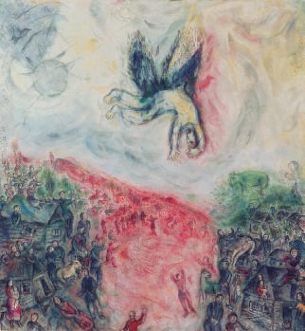 Marc Chagall. La Chute d'Icare, 1974 / 1977. Óleo sobre lienzo, 213 x 198 cm. Adquisición en 1979. © Adagp, Paris. Centre Pompidou, MNAM-CCI/Service de la documentation photographique du MNAM/Dist. RMN-GP – Cortesía del Centre Pompidou Málaga